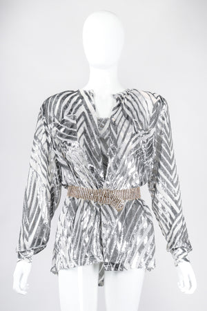 Recess Los Angeles Vintage Alan Austin Metallic Velvet Lamé Blouse