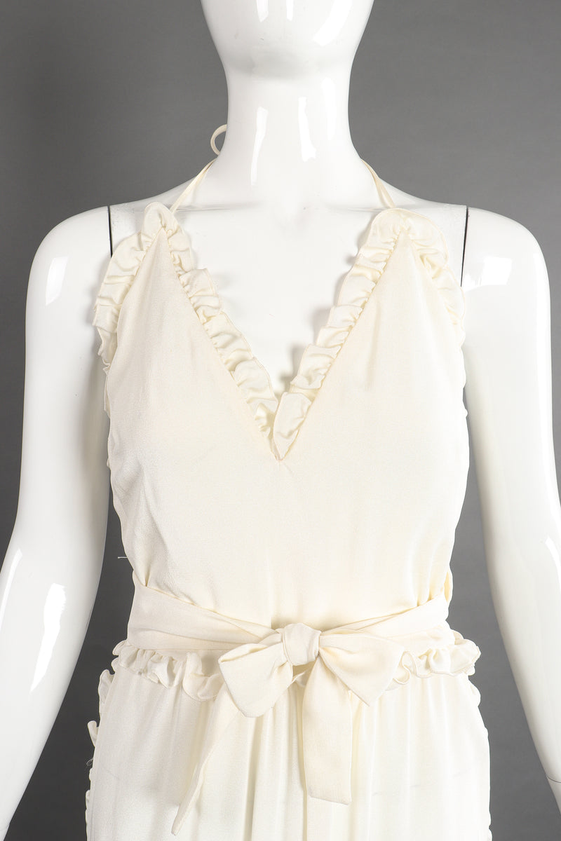 Vintage Albert Capraro Ruffle Wrap Halter Dress on Mannequin front crop at Recess Los Angeles
