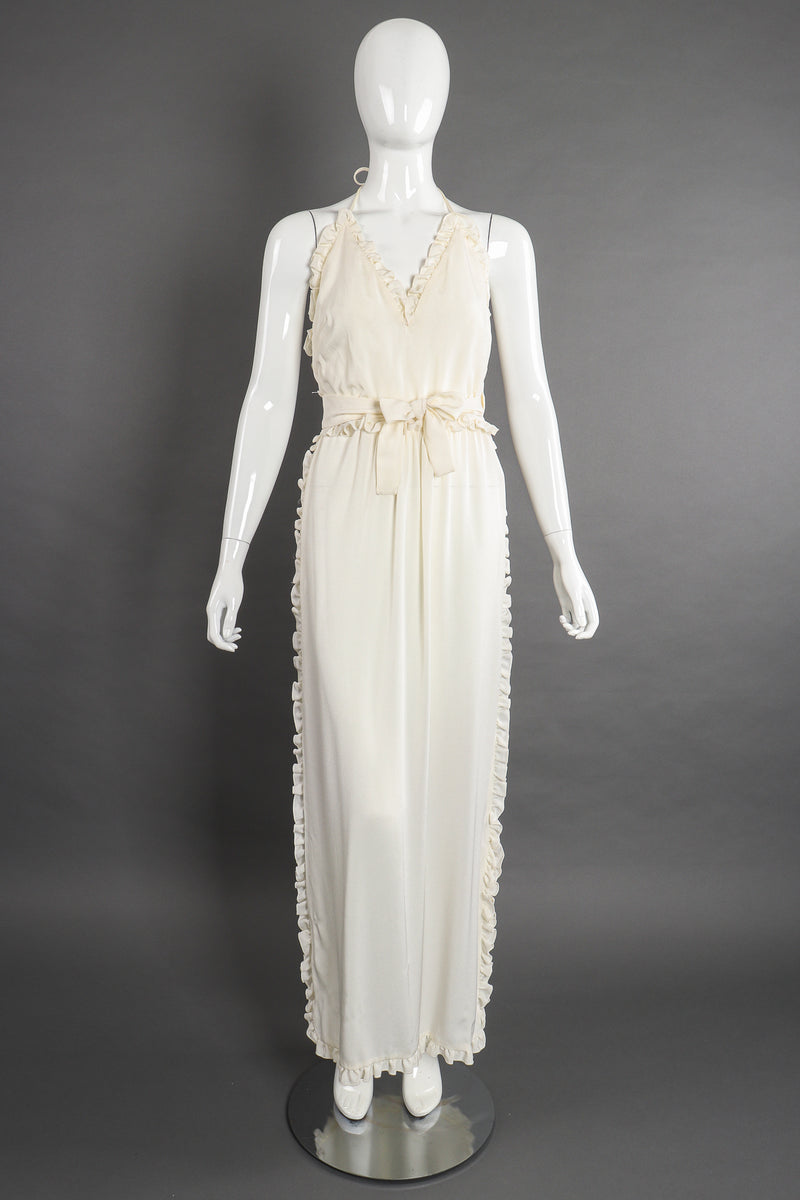 Vintage Albert Capraro Ruffle Wrap Halter Dress Bridal Wedding on Mannequin front at Recess LA