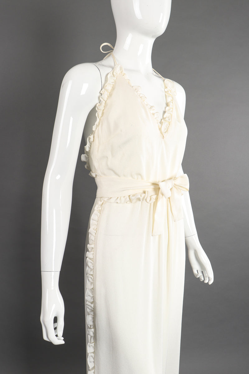 Vintage Albert Capraro Ruffle Wrap Halter Dress Bridal Wedding on Mannequin angle crop at Recess LA