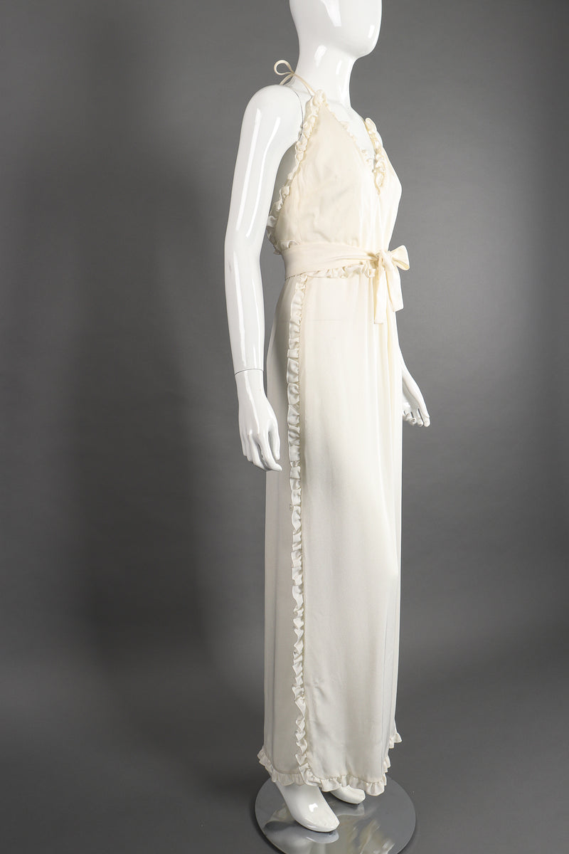 Vintage Albert Capraro Ruffle Wrap Halter Dress Bridal Wedding on Mannequin angle at Recess LA
