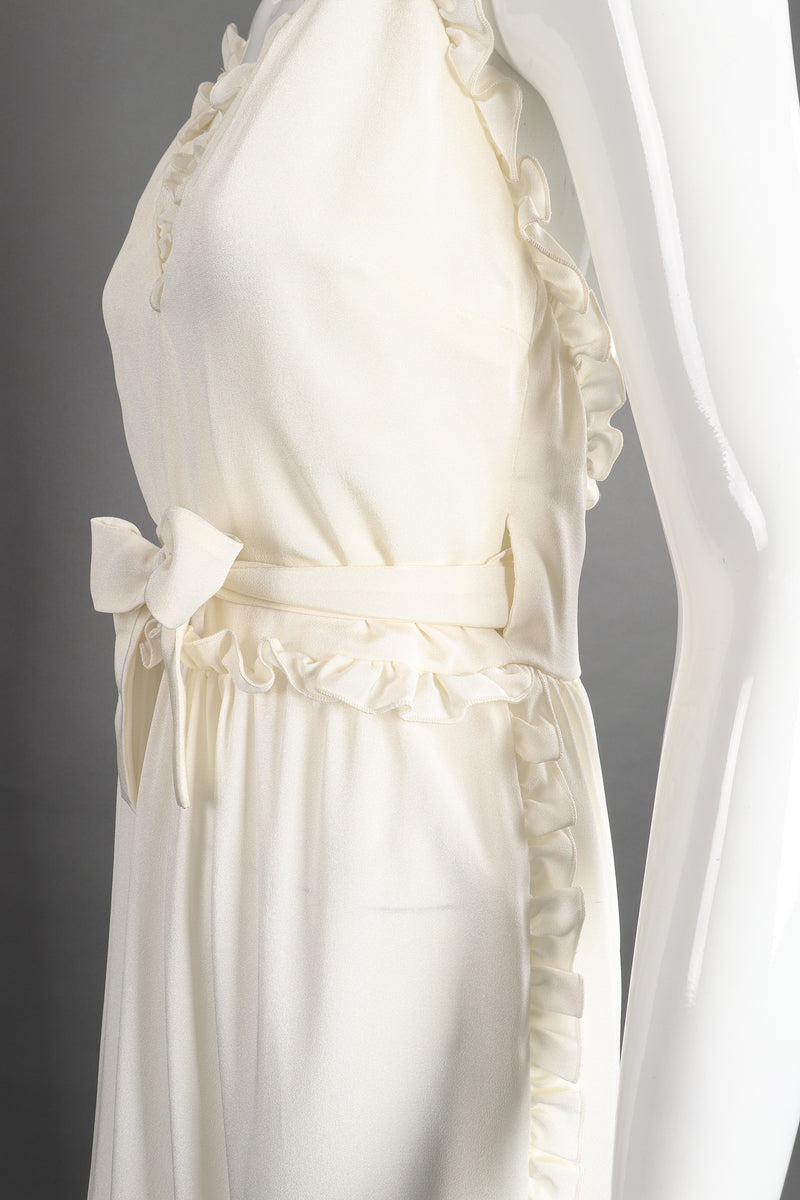 Vintage Albert Capraro Ruffle Wrap Halter Dress on Mannequin wrap detail at Recess Los Angeles
