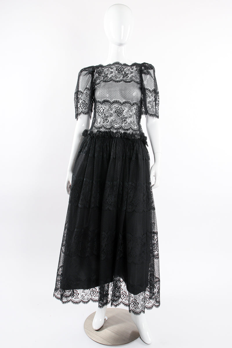 Vintage Albert Nipon Chantilly Lace Peasant Dress on Mannequin unlined at Recess Los Angeles