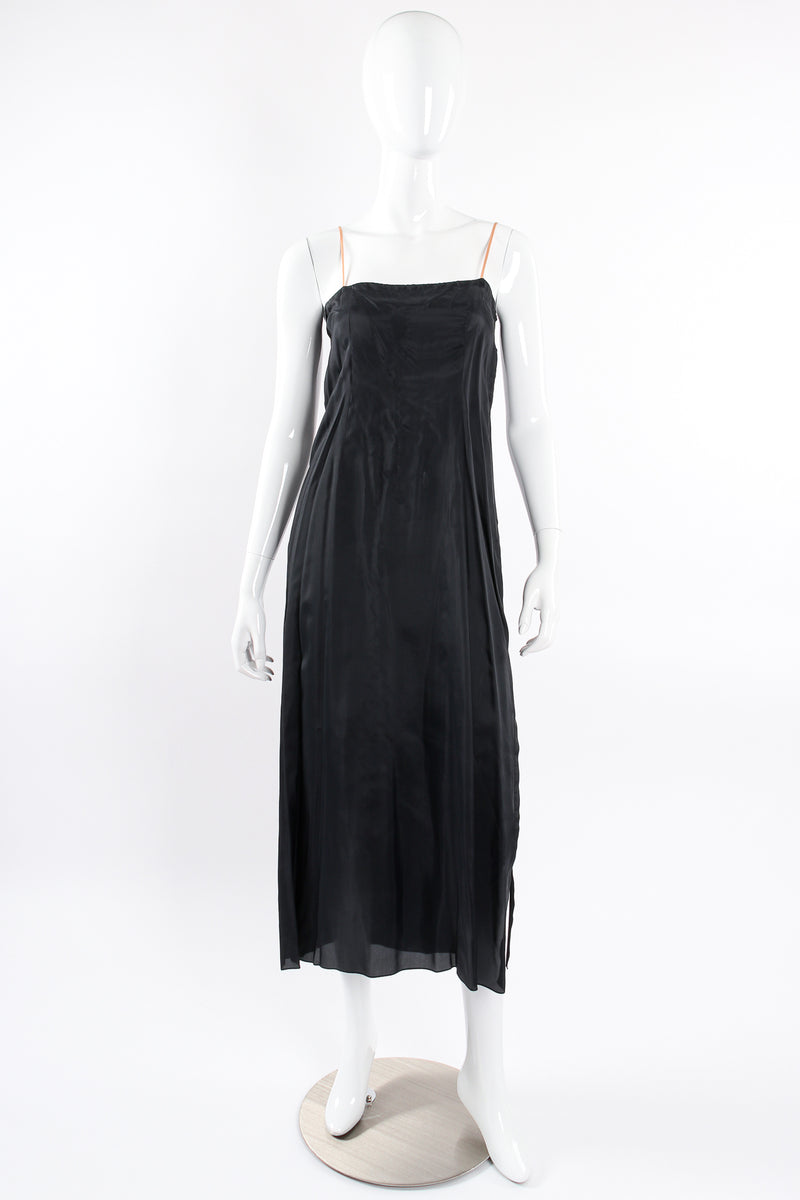 Vintage Albert Nipon Chantilly Lace Peasant Dress on Mannequin lining slip front at Recess LA
