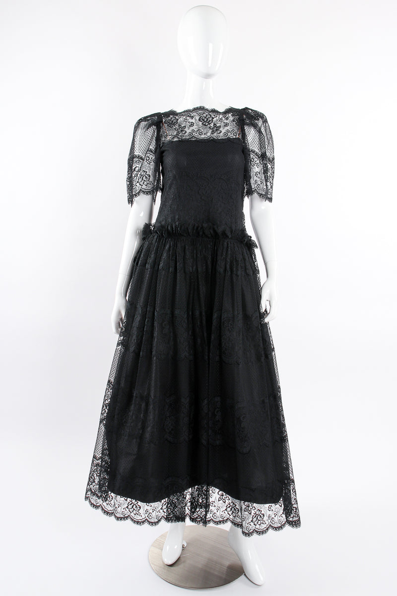 Vintage Albert Nipon Chantilly Lace Peasant Dress on Mannequin front at Recess Los Angeles
