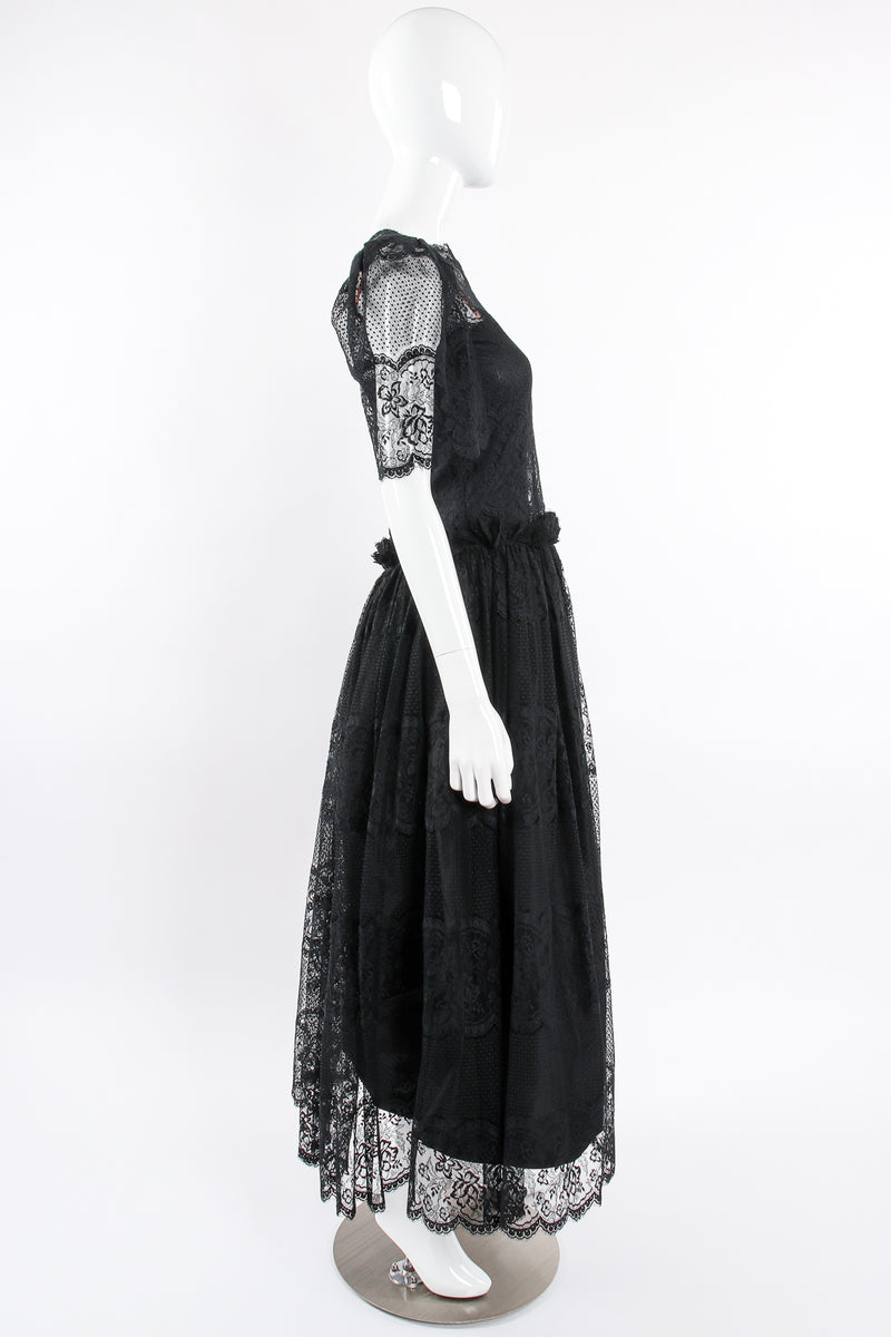 Vintage Albert Nipon Chantilly Lace Peasant Dress on Mannequin side at Recess Los Angeles
