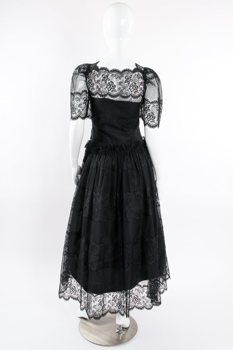Vintage Albert Nipon Chantilly Lace Peasant Dress on Mannequin back at Recess Los Angeles