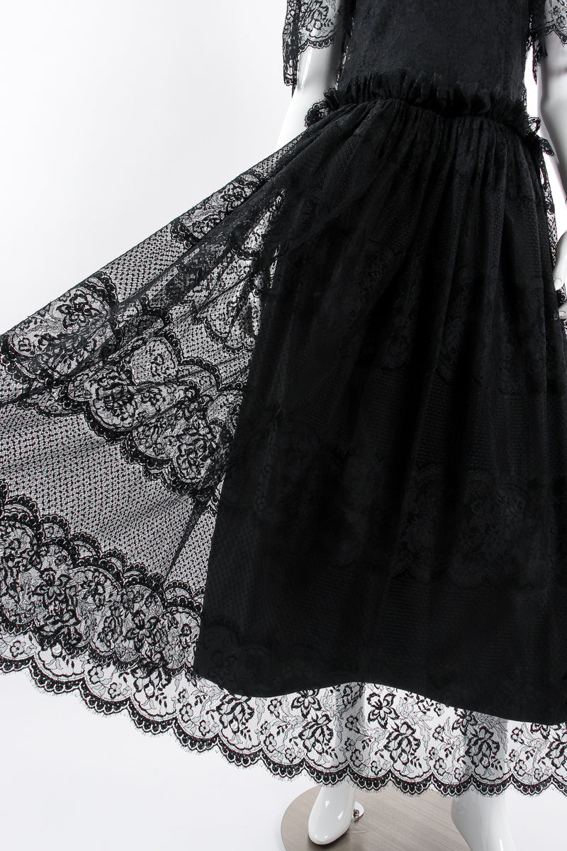 Vintage Albert Nipon Chantilly Lace Peasant Dress on Mannequin skirt at Recess Los Angeles