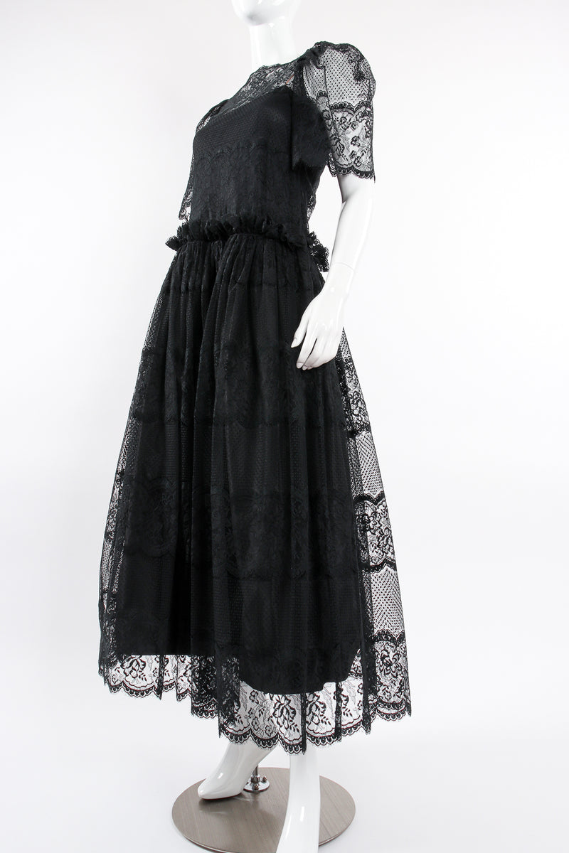 Vintage Albert Nipon Chantilly Lace Peasant Dress on Mannequin angle at Recess Los Angeles