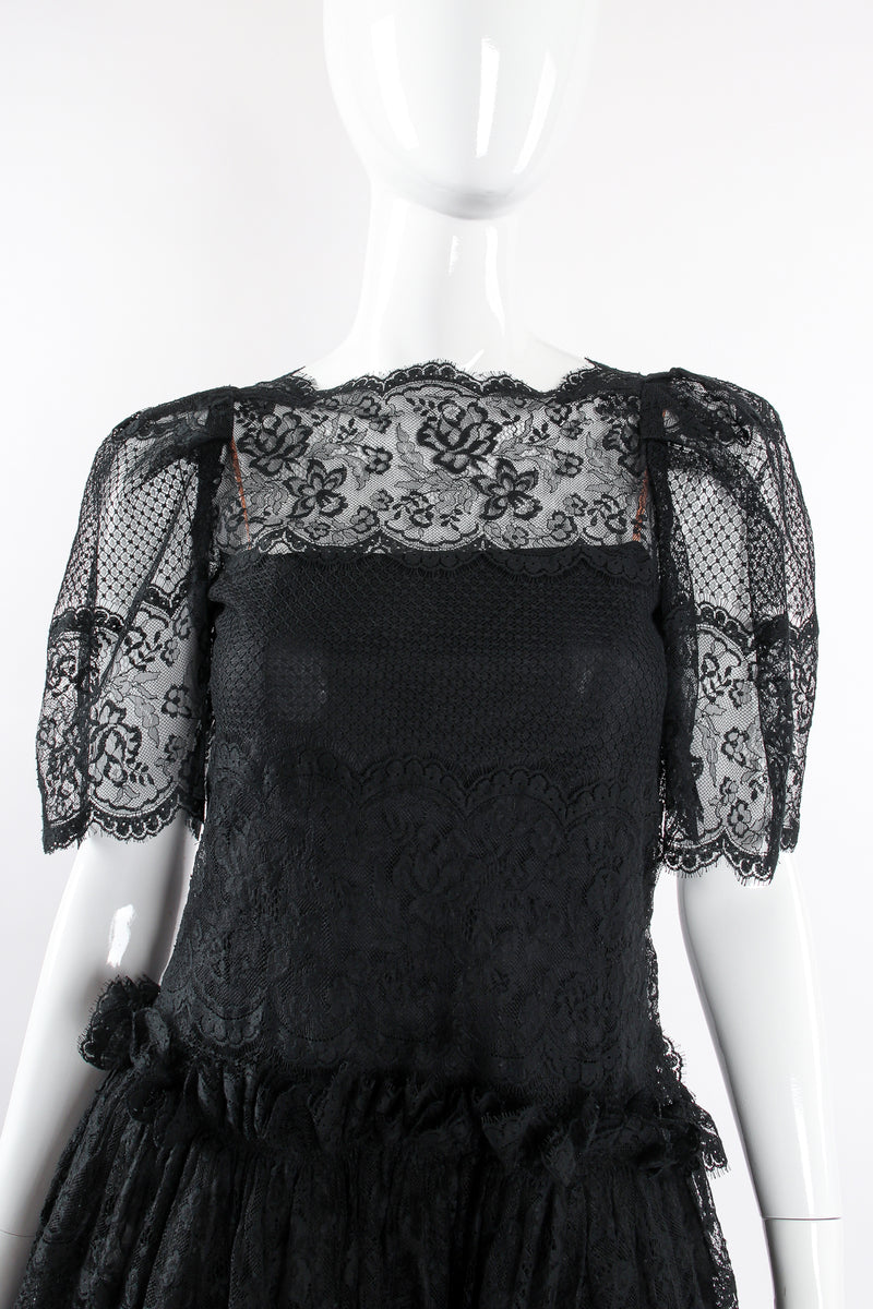 Vintage Albert Nipon Chantilly Lace Peasant Dress on Mannequin neckline at Recess Los Angeles