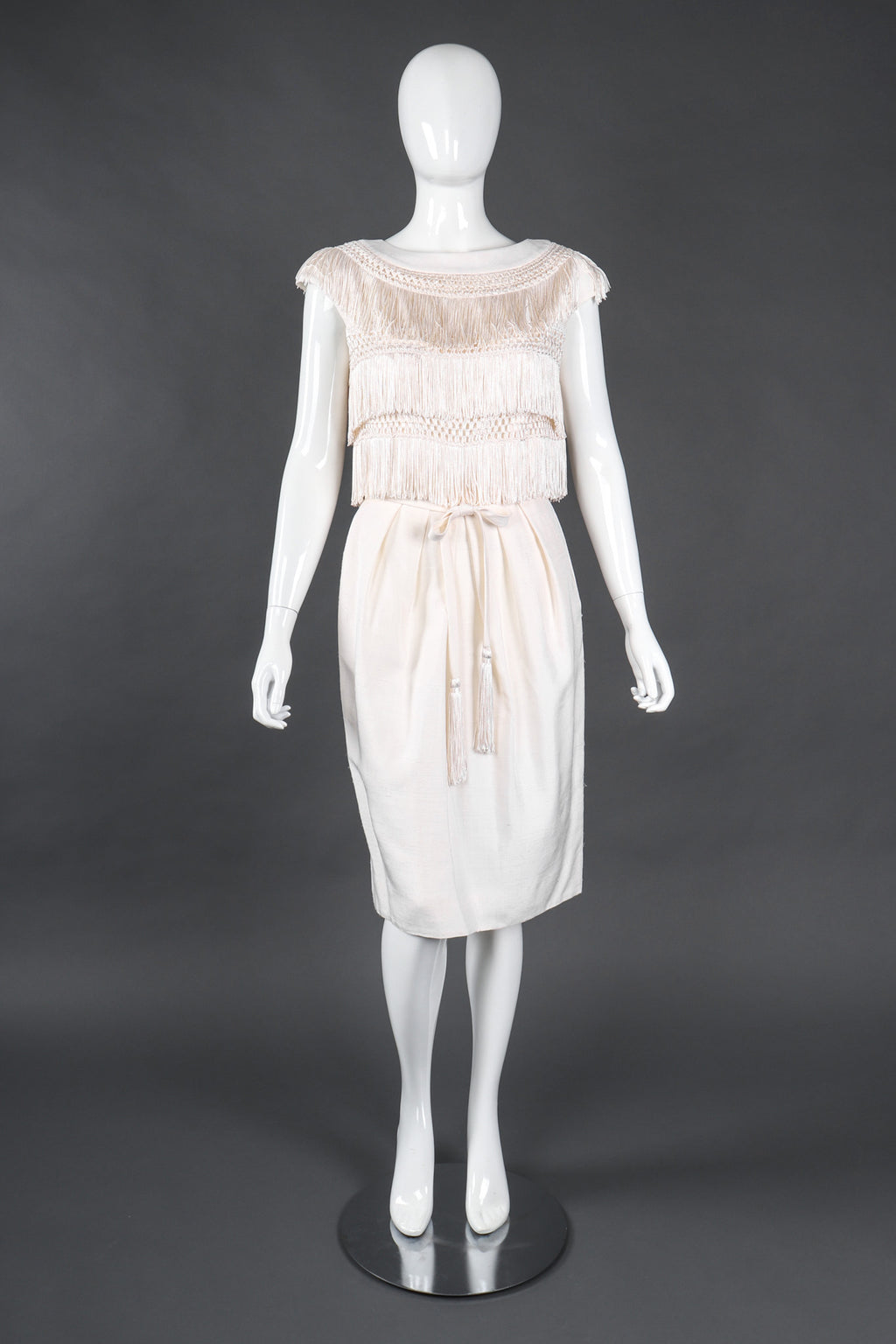 Recess Los Angeles Vintage Albert Nipon Raw Silk Fringed Bateau Cocktail Wedding Bridal Dress