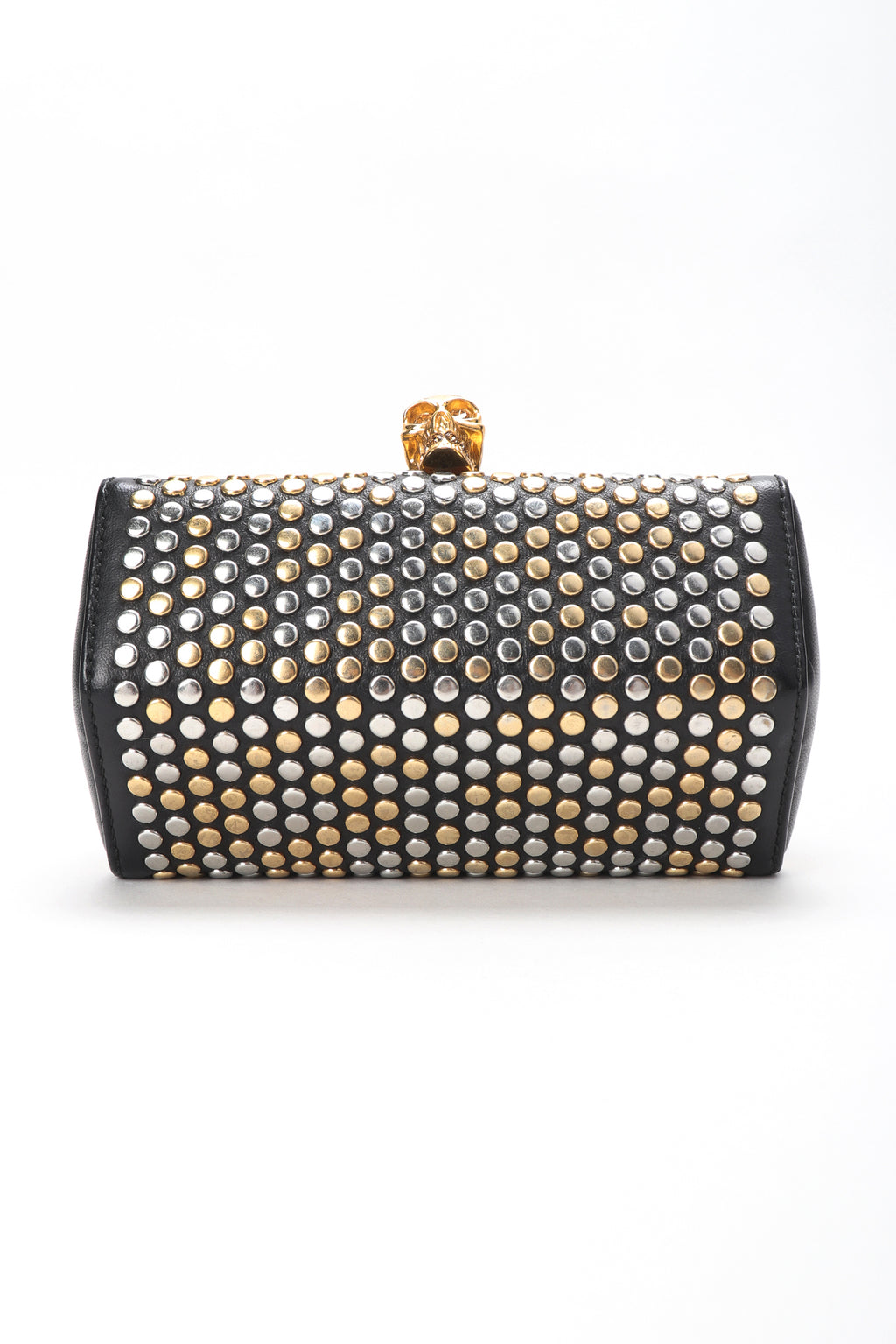 Recess Designer Consignment Vintage Alexander McQueen Studded Skull Leather Hexagon Convertible Clutch Crossbody Bag Los Angeles Resale