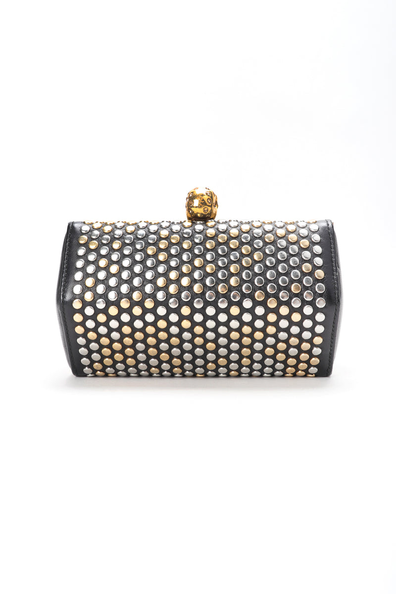 Recess Designer Consignment Vintage Alexander McQueen Studded Skull Leather Hexagon Clutch Crossbody Bag