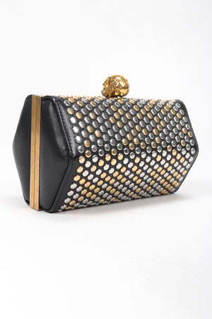 Studded Leather Hexagon Clutch