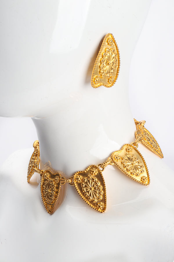 Vintage Alexis Kirk Etruscan Collar Necklace & Earring Set on Mannequin at Recess Los Angeles