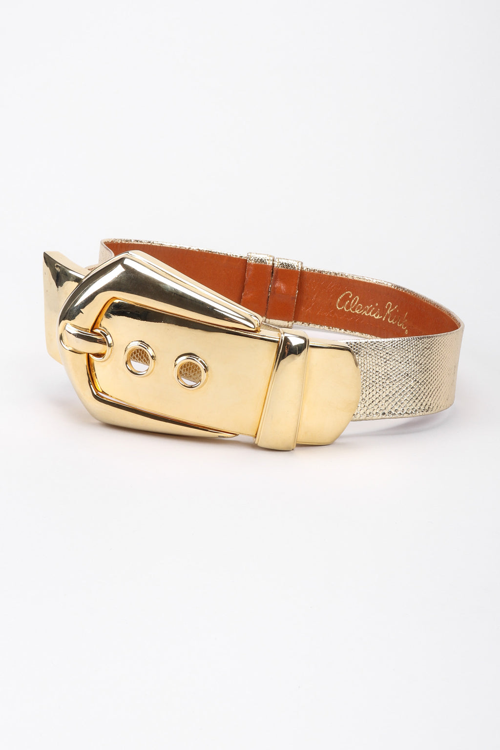 Recess Los Angeles Vintage Alexis Kirk Oversized Lamé Gold Metal Buckle Belt