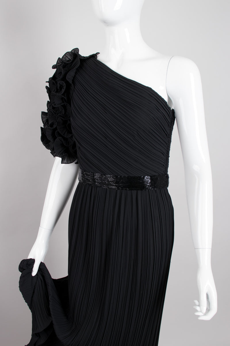 Alfred Bosand Asymmetrical Ruffle Sleeve Pleated One Shoulder Gown