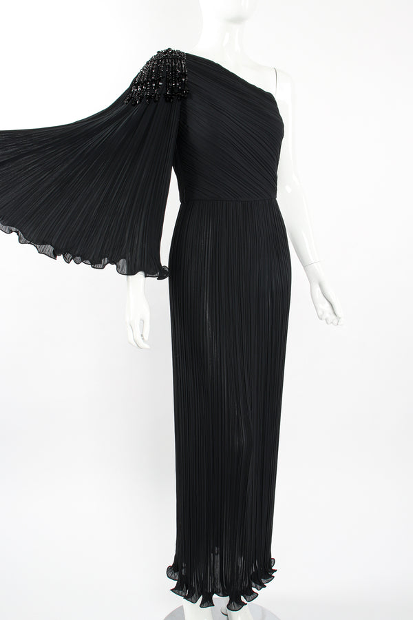 Vintage Alfred Bosand Asymmetrical Pleated Sleeve Gown on Mannequin angle at Recess Los Angeles