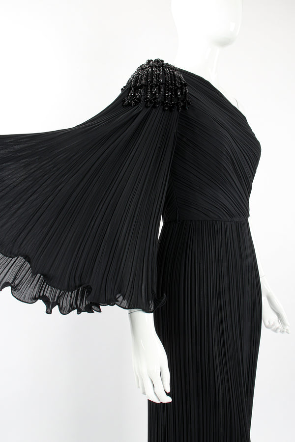 Vintage Alfred Bosand Asymmetrical Pleated Sleeve Gown on Mannequin crop at Recess Los Angeles
