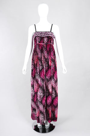 Recess Los Angeles Vintage Alfred Bosand Empire Waist Velvet Burnout Tinsel Gown