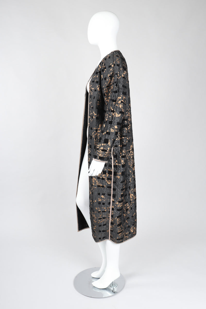 Recess Los Angeles Vintage Amen Wardy Metallic Splatter Quilted Duster Coat