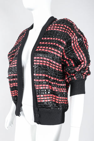 Recess Los Angeles Designer Consignment Vintage Amen Wardy Woven Red Snakeskin Straw Boxy Sweater Jacket