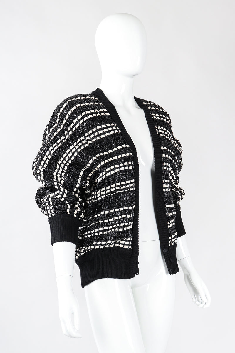 Recess Los Angeles Vintage Amen Wardy Woven Straw Snakeskin Boxy Cardigan Jacket