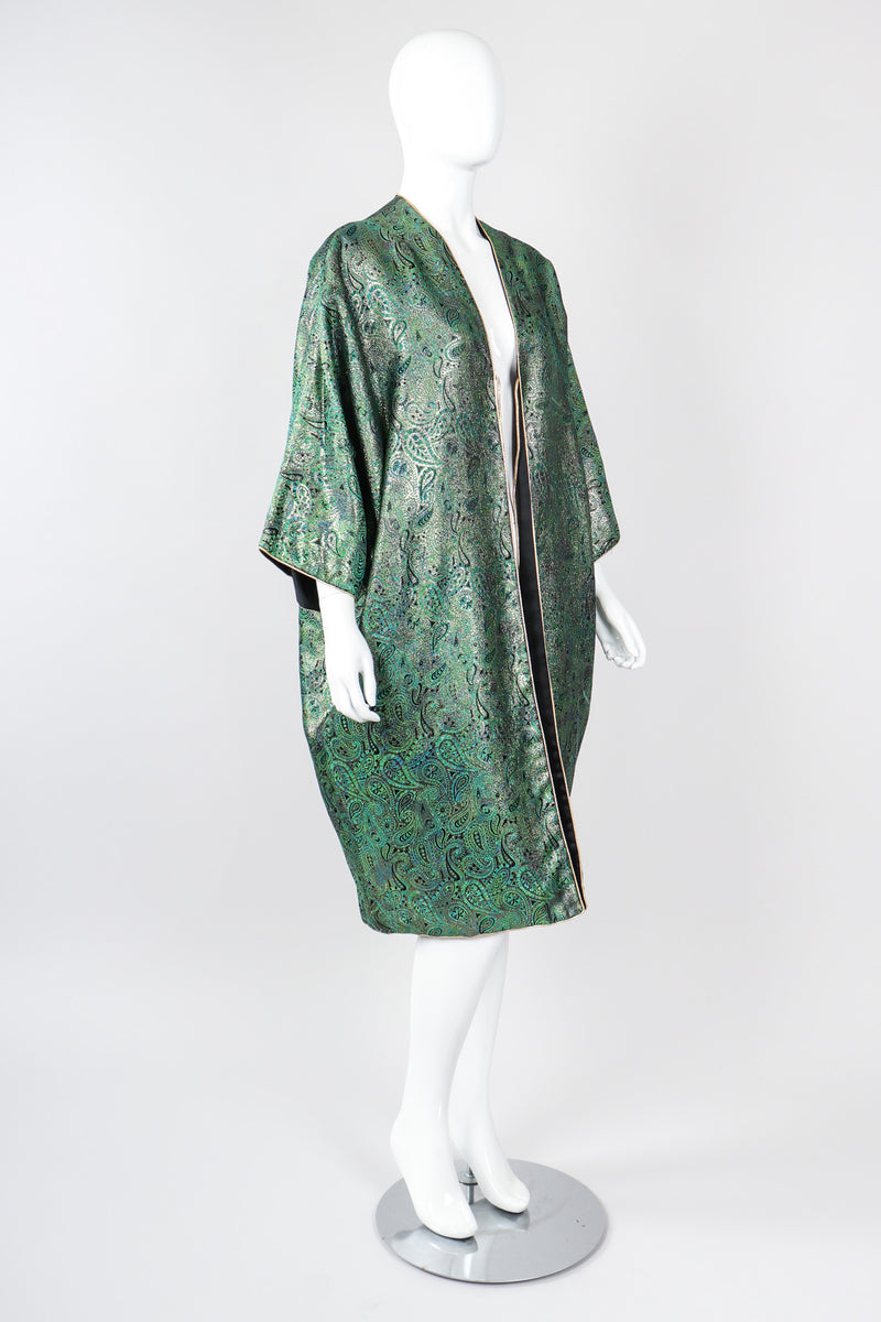 Recess Los Angeles Vintage Amen Wardy Paisley Gold Brocade Cocoon Kimono Coat