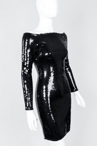 Vintage Andrea Behar Black Liquid Sequin Off-The-Shoulder Dress on Mannequin Cropped, at Recess