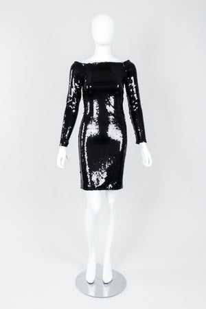 Vintage Andrea Behar Black Liquid Sequin Off-The-Shoulder Dress on Mannequin front, at Recess