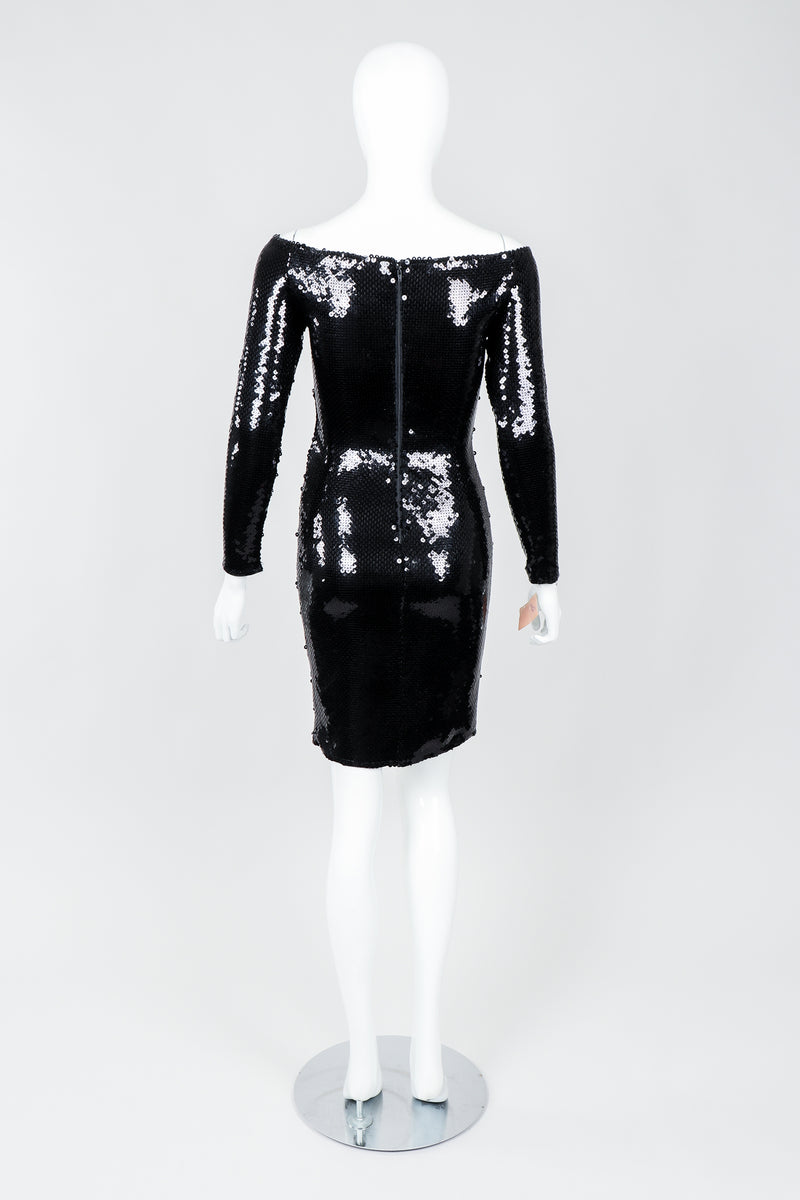 Vintage Andrea Behar Black Liquid Sequin Off-The-Shoulder Dress on Mannequin Back, at Recess