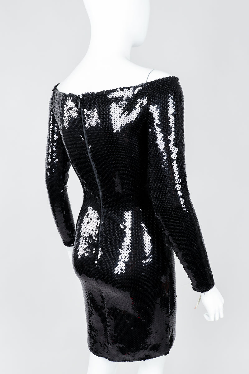 Vintage Andrea Behar Black Liquid Sequin Off-The-Shoulder Dress on Mannequin Rear view, at Recess