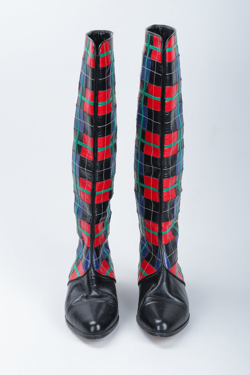 Recess Vintage Andrea Pfister Leather Applique Plaid Boots standing on white background, front