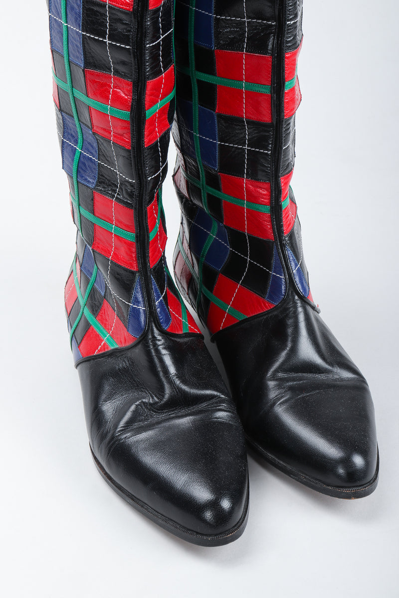 Recess Vintage Andrea Pfister Leather Applique Plaid Boots front toes