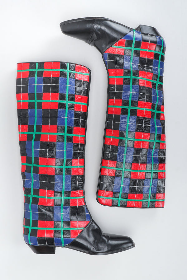 Recess Vintage Andrea Pfister Leather Applique Plaid Spat Boots on white background