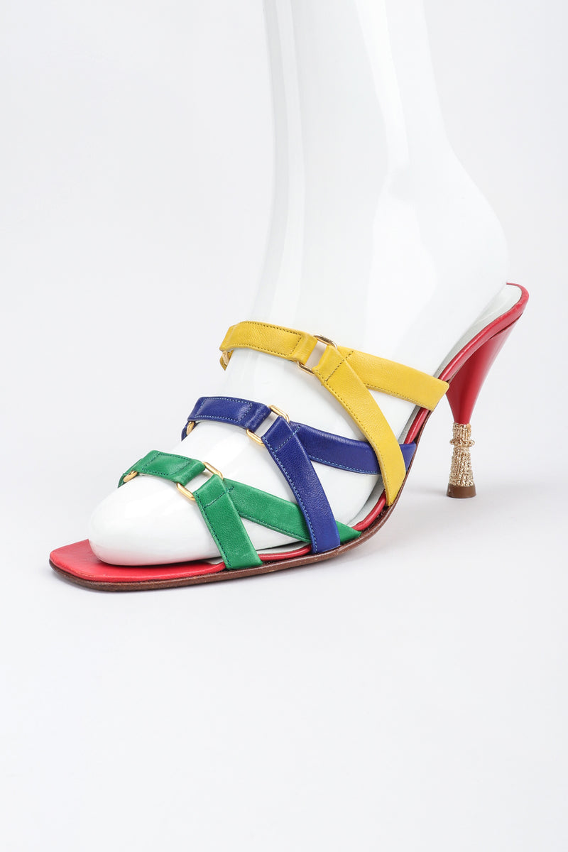 Recess Los Angeles Designer Consignment Vintage Andrea Pfister Rainbow Strappy Slide Sandals Heels
