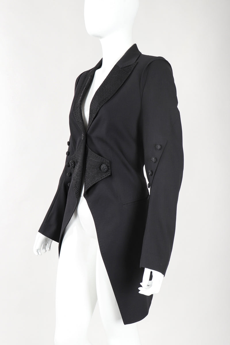 Recess Designer Consignment Vintage Ann Demeulemeester Morning Tails Cutaway Coat Formal Tuxedo Wedding Bride Los Angeles Resale