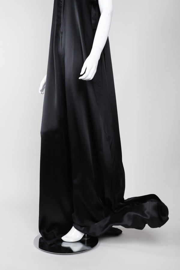 Recess Los Angeles Vintage Ann Demeulemeester Silk Strapless Oversized Evening Palazzo Jumpsuit Pant
