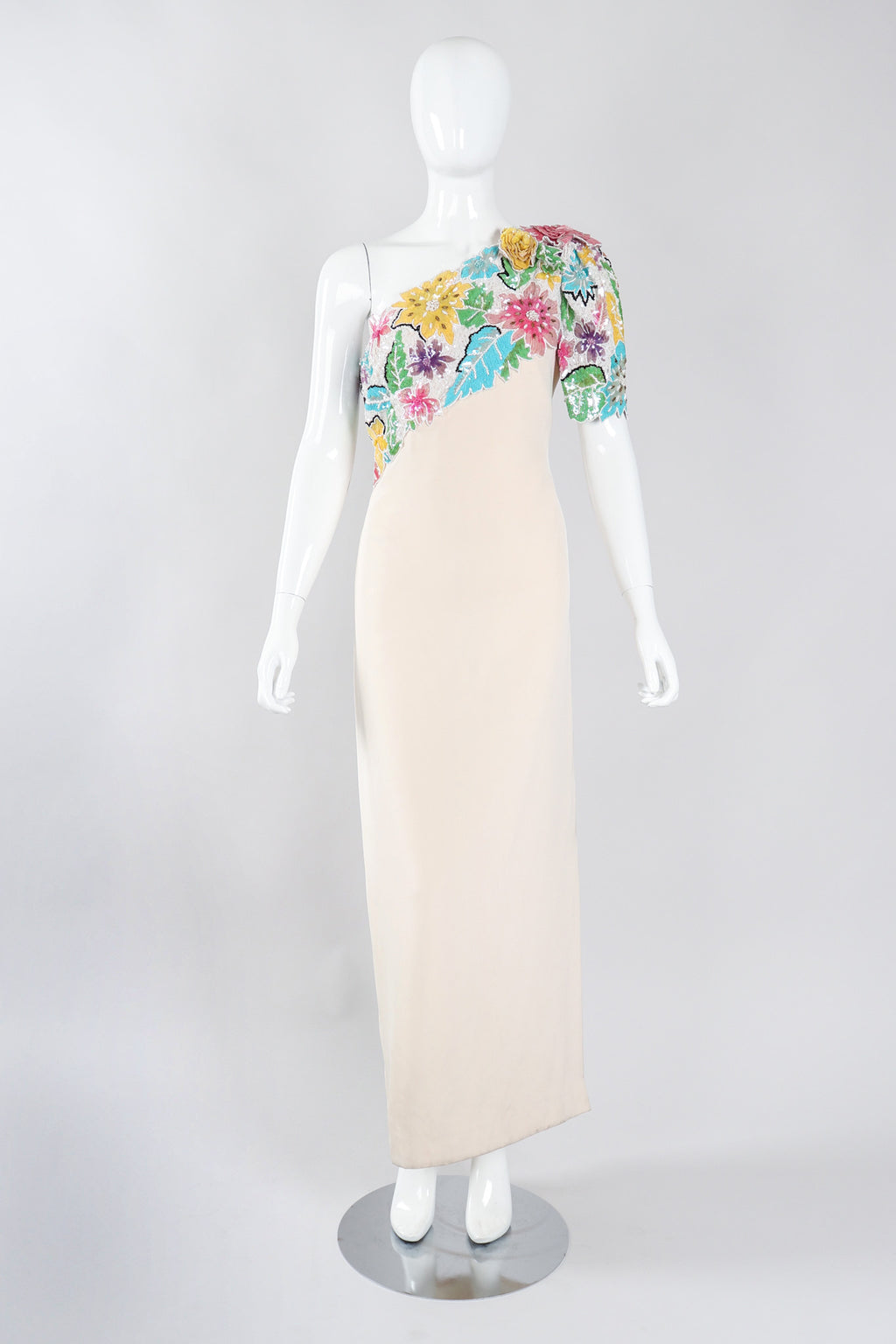 Recess Los Angeles Vintage Ann Lawrence Floral Sequin One-Shoulder Wedding Rehearsal Bridal Dress