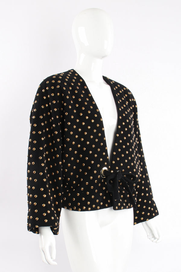 Vintage Anne Klein Studded Dolman Tie Jacket on Mannequin angle at Recess Los Angeles