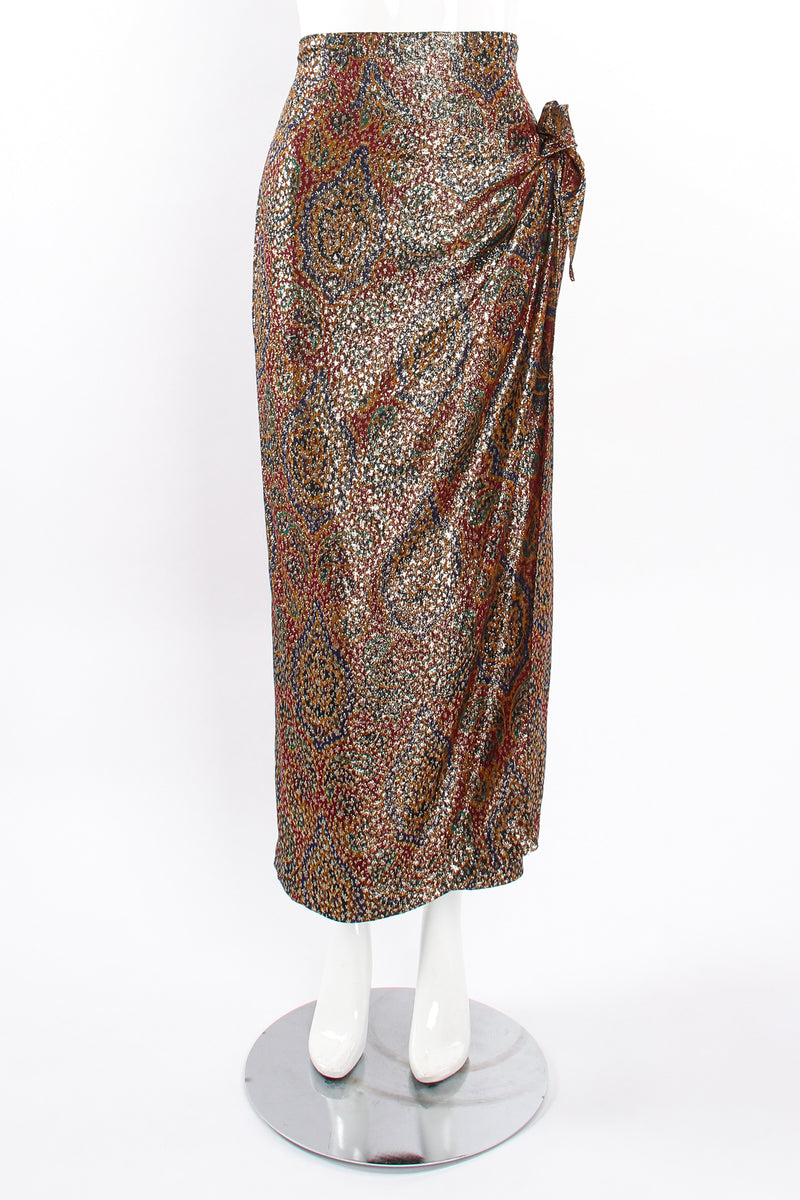 Vintage Anne Klein Faux Wrap Metallic Lamé Sarong Skirt on Mannequin front at Recess Los Angeles