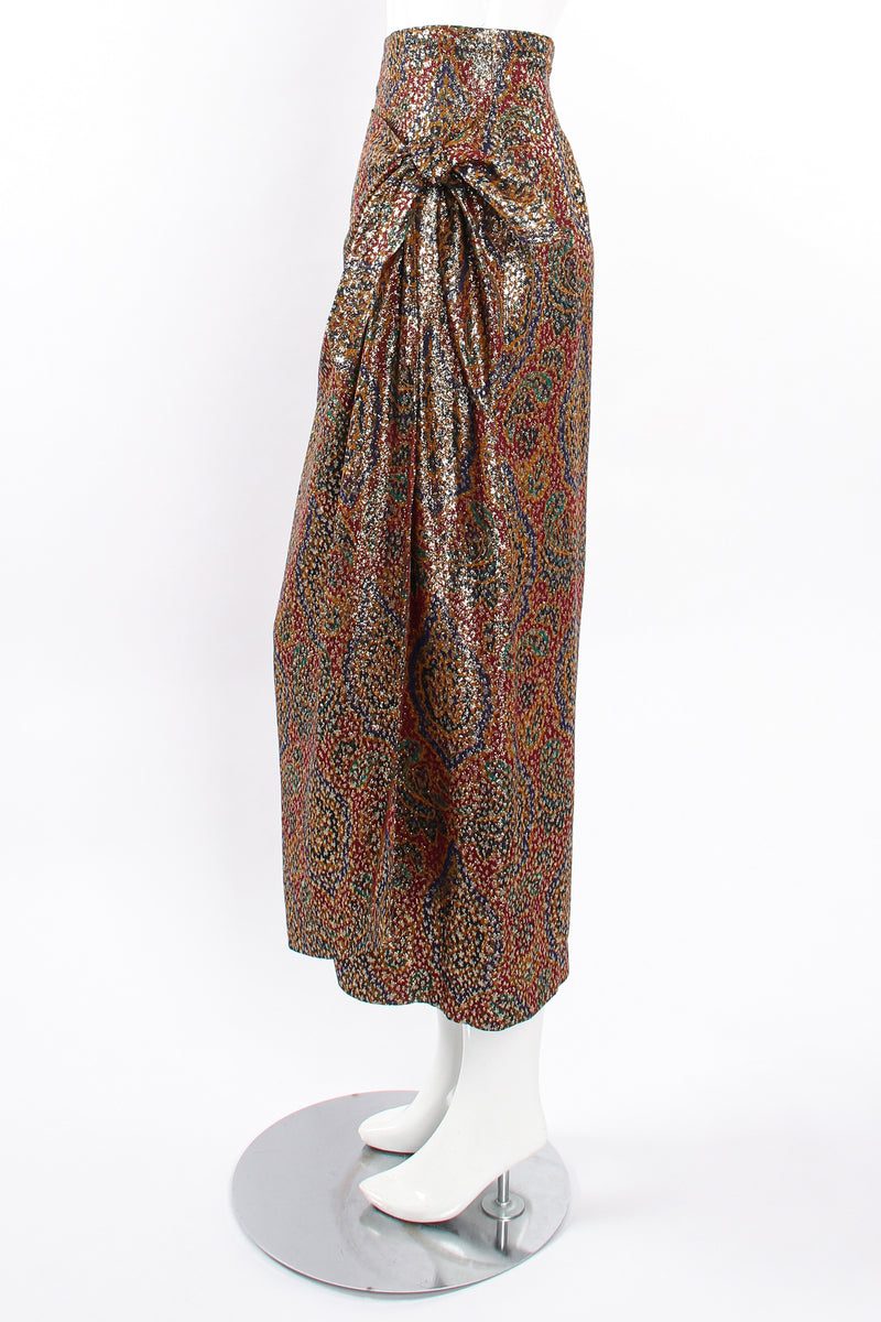 Vintage Anne Klein Faux Wrap Metallic Lamé Sarong Skirt on Mannequin side at Recess Los Angeles
