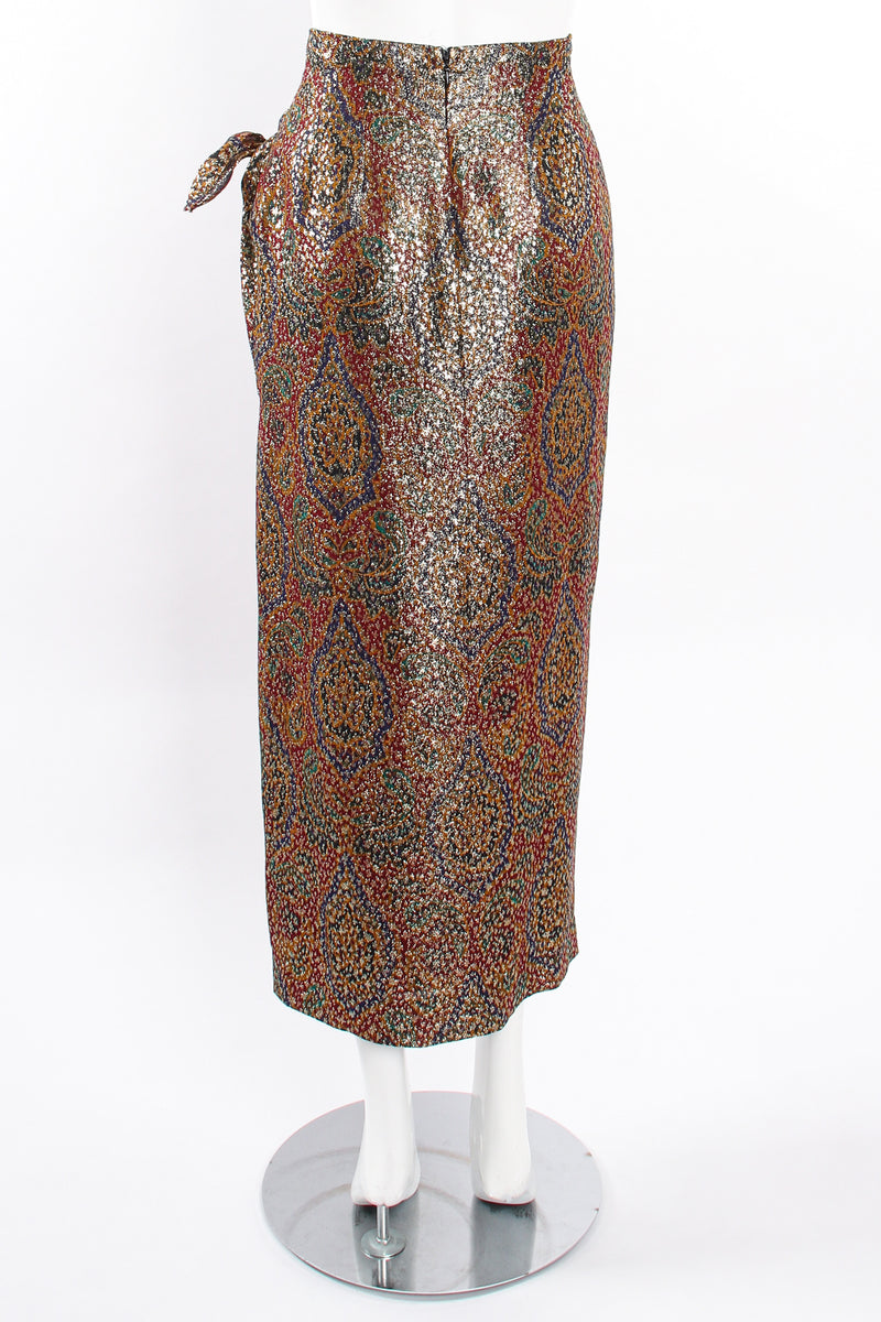 Vintage Anne Klein Faux Wrap Metallic Lamé Sarong Skirt on Mannequin back at Recess Los Angeles