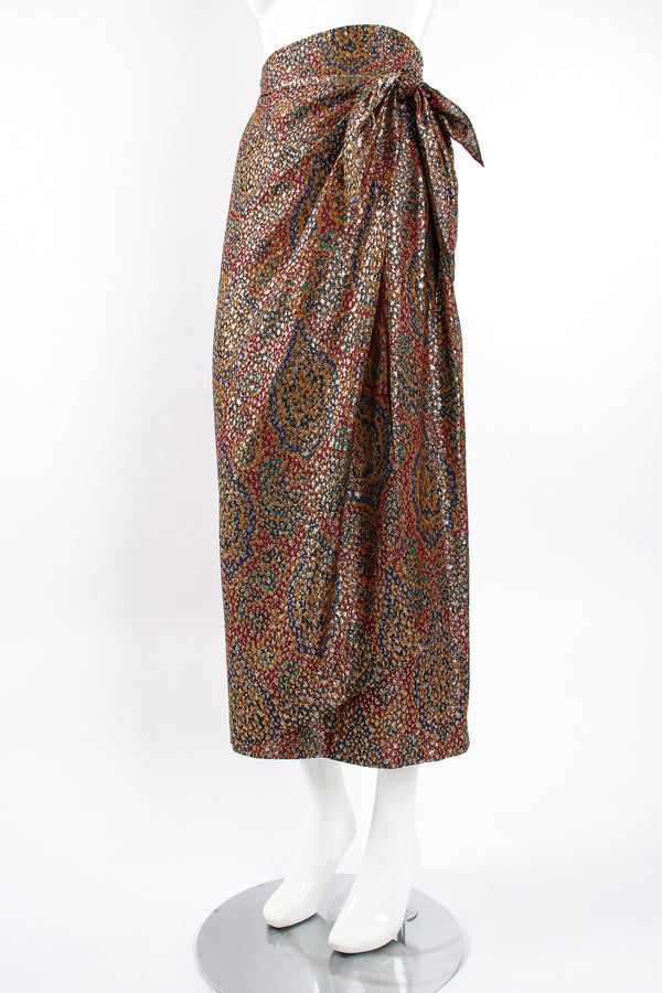 Vintage Anne Klein Faux Wrap Metallic Lamé Sarong Skirt on Mannequin angle at Recess Los Angeles