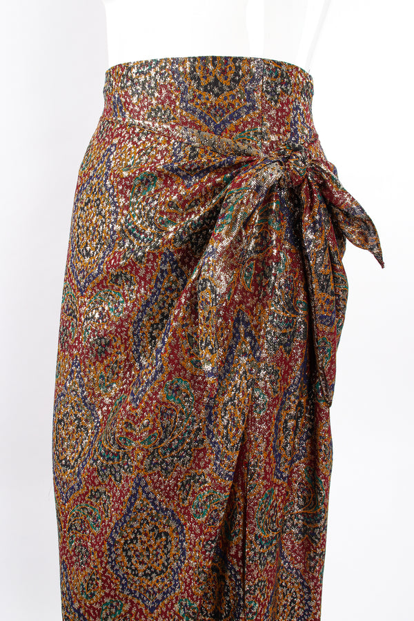Vintage Anne Klein Faux Wrap Metallic Lamé Sarong Skirt on Mannequin crop at Recess Los Angeles