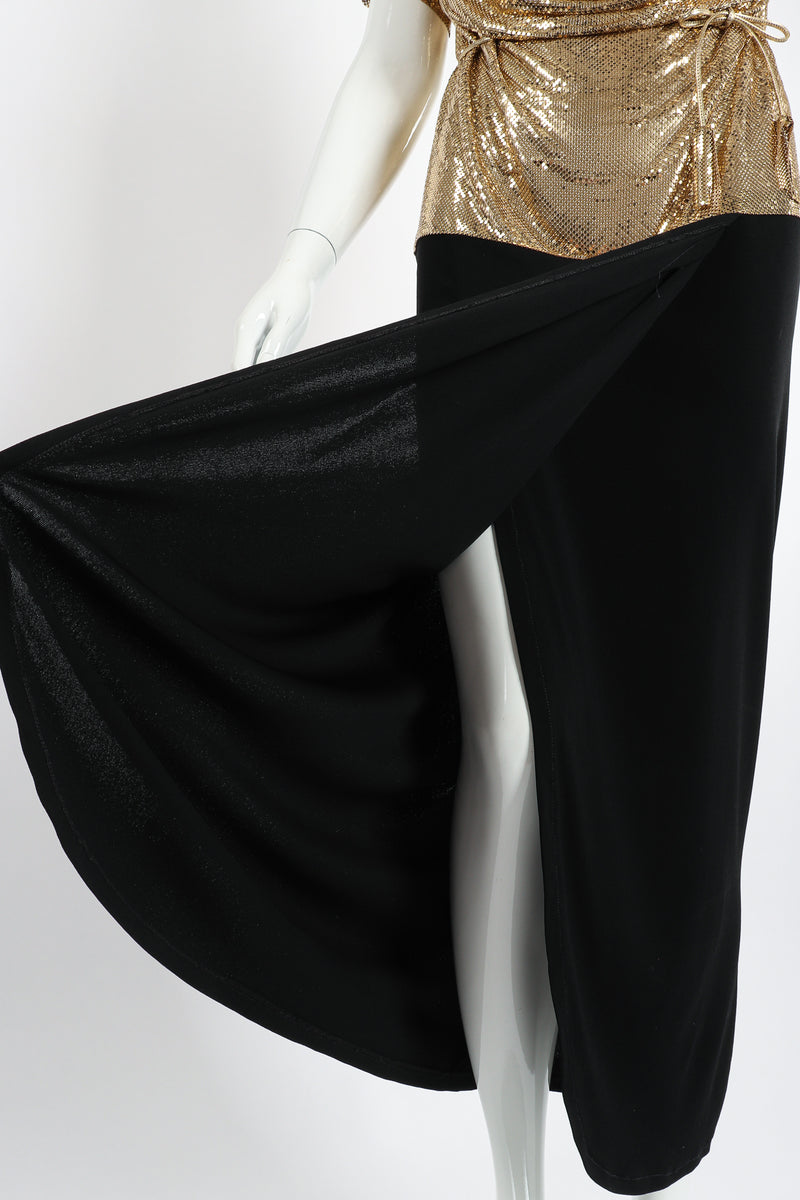 Vintage Anthony Ferrara Gold Mesh Draped Cowl Dress on Mannequin Skirt at Recess Los Angeles