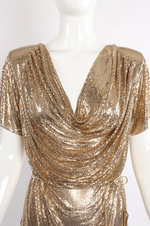 Vintage Anthony Ferrara Gold Mesh Draped Cowl Dress on Mannequin Neckline at Recess Los Angeles