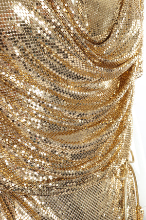 Vintage Anthony Ferrara Gold Mesh Draped Cowl Dress fabric detail at Recess Los Angeles
