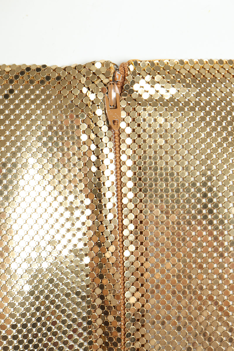 Vintage Anthony Ferrara Gold Mesh Draped Cowl Dress zipper detail at Recess Los Angeles