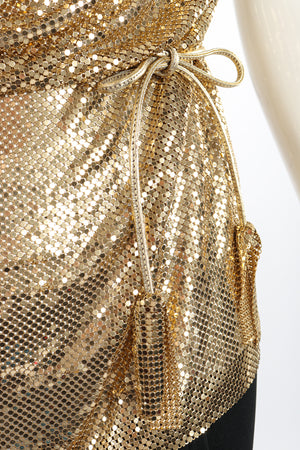 Vintage Anthony Ferrara Gold Mesh Draped Cowl Dress on Mannequin belt at Recess Los Angeles